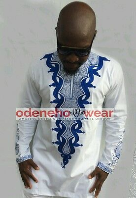 Odeneho Wear Men's White Polished Cotton Top/Blue Embroidery. African Clothing