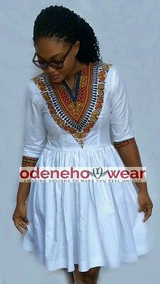 Odeneho Wear Ladies White Polished Cotton/ Dashiki  Dress. African Clothing.