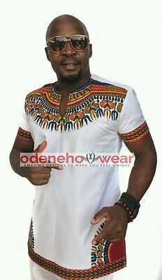 Odeneho Wear Men's White Polished Cotton Top With Dashiki. African Clothing
