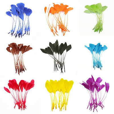 "20 pcs Stripped Coque Feathers Millinery and Crafts 5-7"" MANY COLOR OPTIONS"