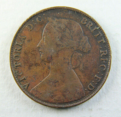 1861 Queen Victoria Half-Penny Coin; Old album collection!