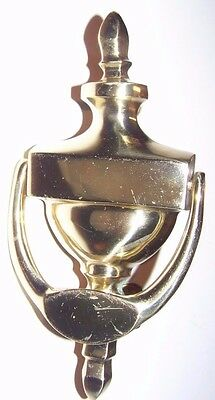 Vintage Solid Shiny Brass Door Knocker  With Name Plate