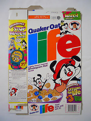 VINTAGE! 1994 Quaker Oat Life Cereal Box-Animaniacs
