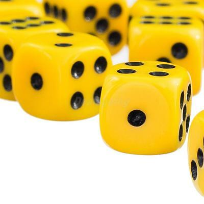 50pcs/set D&D RPG Game 12mm Six Sided Spot Dice Set of D6 Playing Toy Yellow