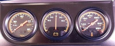 "Triple Gauge Set Analog Console 2"" Water Temperature, Oil PSI, Ammeter, Black"