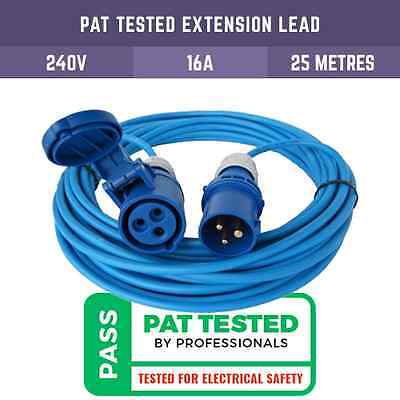 Pat Tested 25M Extension Leads Ip44 16A Blue Hookup For Camping, Motorhomes