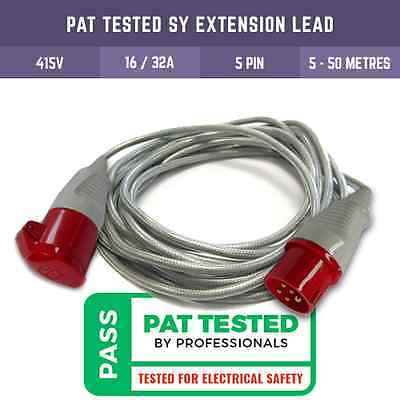 Pat Tested 415V Three Phase Extension Lead Red 5 Pin Plug And Socket Sy Cable