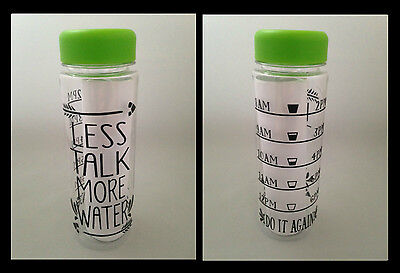 Motivational Water Bottle Hydration Tracker Fitness Quote GREEN