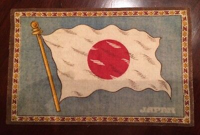 """WWII WW2 Japan Cloth Flag Small Mat 8"""" x 5"""" Very Good Condition"""