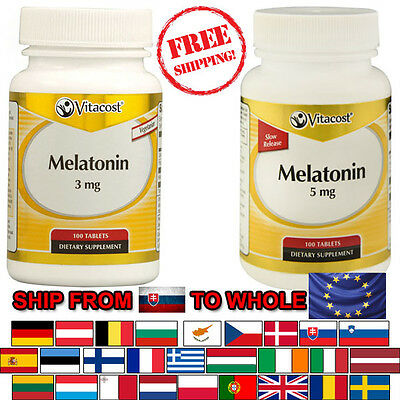 Melatonin 3mg or 5mg x 100 Tablets Vitacost, FREE Shipping to EU Europe
