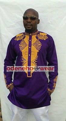 Odeneho Wear Men's Purple Polished Cotton Top/Gold Embroidery. African Clothing