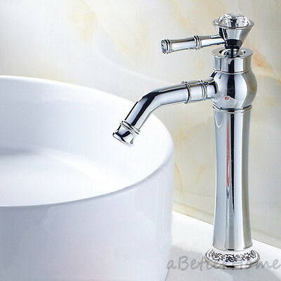 Antique Chrome Bathroom Sink Swivel Tall Faucet Modern Single Lever Mixer Tap