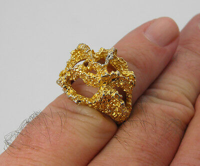 Vintage 14K Yellow Gold Electroplate Ladies Nugget Cocktail Ring Setting Size 6