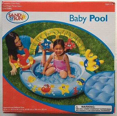 """Baby Toddler Inflatable Pool Sand N Sun 43""""L x 39.5""""W x 23""""H New Summer Swimming"""
