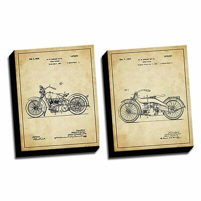 Harley Vintage Set of 2 Patent Drawings Printed on 11x14 Canvases