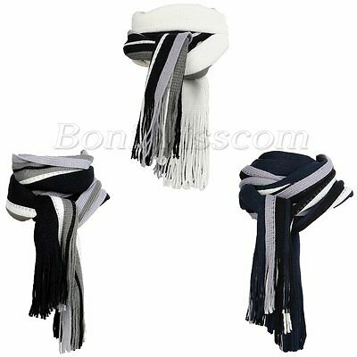 Men's Fashion Winter Strip Fringe Tassel Scarf Knitting Soft Long Shawl Scarves