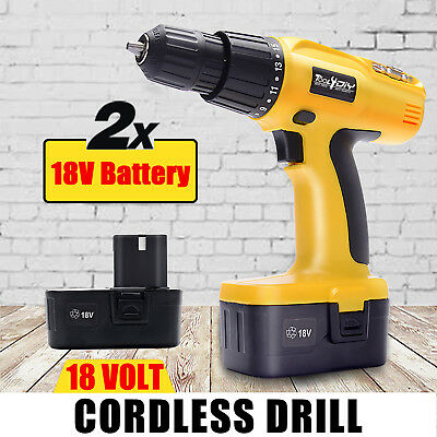 18V HEAVY DUTY CORDLESS DRILL DRIVER SCREWDRIVER IN STORAGE CASE + Spare Battery