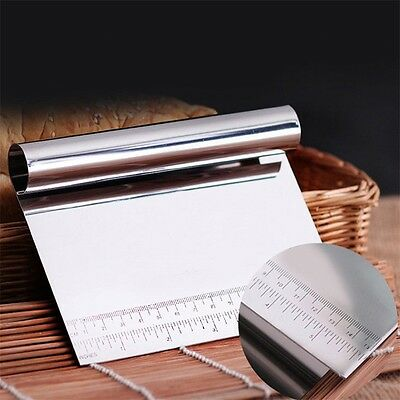 Stainless Steel Pizza Dough Scraper Cutter Kitchen Flour Pastry Cake Tool P5