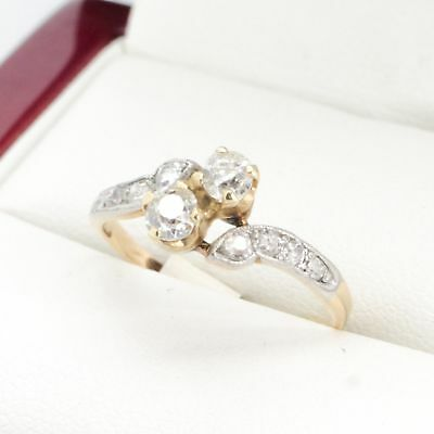 Art Deco Antique Diamond Engagement ring, with beautiful crossover 14ct gold set