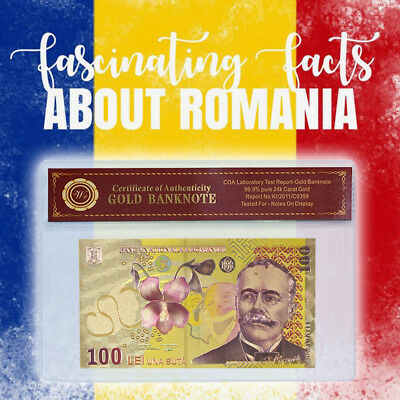 WR Romania 100 Lei Real 24k Gold Foil Plated Bank Note Unique Colorized Edition