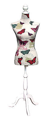 NEW | TC1410164 | Butterfly Script Dressmaker's Mannequin | White Wood Stand