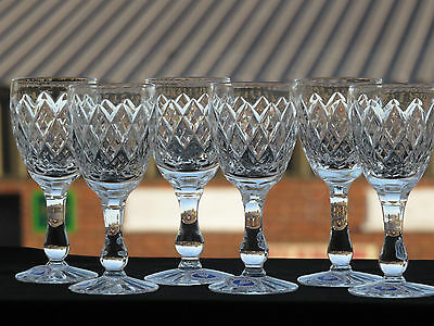 Tutbury Crystal Full Lead Hand Cut Sherry Glasses Set Of 6 With Box
