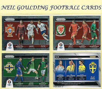 Panini Euro PRIZM 2016 Country Combinations Triples Football Cards #1 to #24
