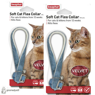 2 x Beaphar Soft Cat & Kitten Flea Collar - Blue, Velvet • EUR 7,63