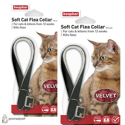 2 x Beaphar Soft Cat & Kitten Flea Collar - Black, Velvet
