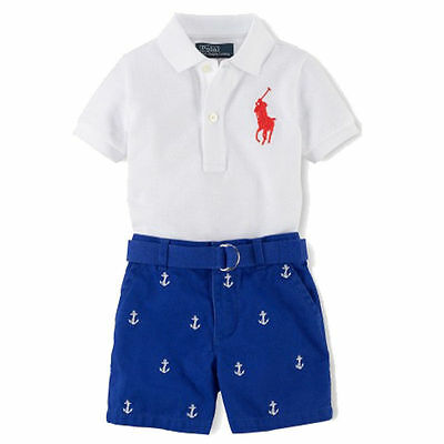 Fashion Boys Collar Polo T-Shirt Casual Top+Short Pants Outfits & Sets 1-7Years