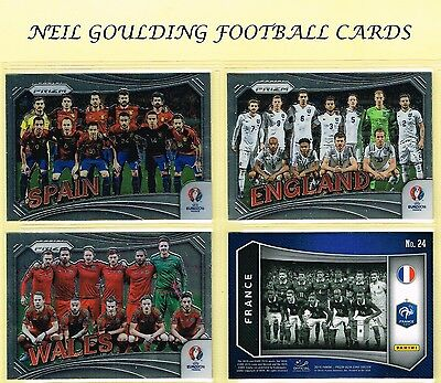 Panini Euro PRIZM 2016 Country/Team Photos Football Insert Cards #1 to #24