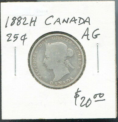 Canada - Historical Qv Silver 25 Cents, 1882 H