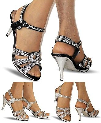 NEW Ladies Party Diamante Ankle Straps Low Mid Heel Shoes Sandals Size A-200