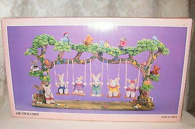 Spring Easter Rabbit Set / Figurine - Bunny Family on a Swing Designed by Jaimy