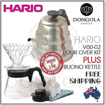 HARIO V60 Pour Over Kit Coffee Dripper Range Server Paper Filter + Buono Kettle