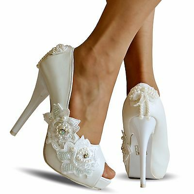 NEW Ladies Wedding Bridal High Platform Heel White Floral Court Shoes Size-QX503