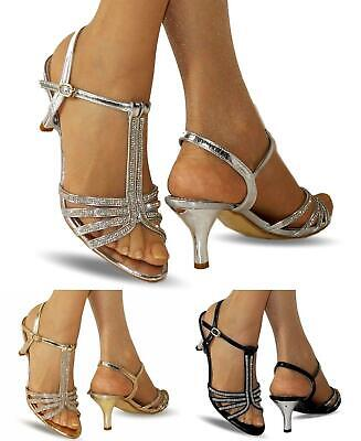 NEW Ladies Party Prom Diamante Ankle Straps Low Kitten Heel Shoes Sandals 30-105