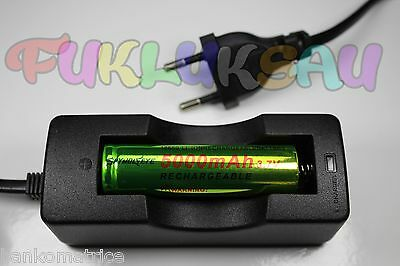 1 PILE ACCU RECHARGEABLE LI-ION 18650 3.7V 5000mAh + CHARGEUR CHARGE TRES RAPIDE