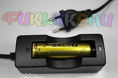 1 PILE ACCU RECHARGEABLE LI-ION 18650 3.7V 8800mAh + CHARGEUR CHARGE TRES RAPIDE