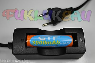 1 PILE ACCU RECHARGEABLE LI-ION 18650 3.7V 3000mAh + CHARGEUR CHARGE TRES RAPIDE
