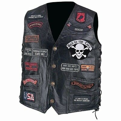 Mens Black Leather Motorcycle VEST w/ 23 Patches US Flag Eagle Biker Skull Laces