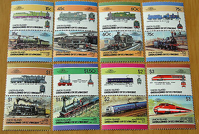 Loco 100 Trains Grenadines Of St Vincent Union Island 16 Stamps MNH ( 8 pairs )