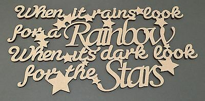 S49 LOOK FOR A RAINBOW MDF Plaque Sign Quote Laser Cut Wooden Craft Shapes