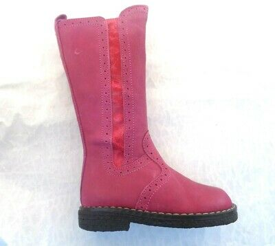 Girls Toddler Bo-Bell Roxy Pink Knee High Leather Zip Boots Uk4 & Uk5