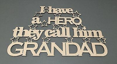 S58 HERO CALLED GRANDAD DAD MDF Plaque Sign Quote Laser Cut Wooden Craft Shapes