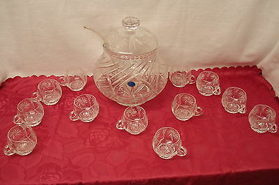 Schwere Bleikristall Glas Bowle Bowleservice 12 Pers. Facettenschliff (47.1)