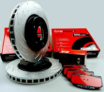 BREMBO pads & BREMAXX slotted disc brake rotors FRONT for SKYLINE R33 GTST GTS-T
