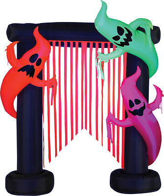 Halloween Airblown Inflatable Archway Ghost Trio W/ Black Light Yard Decor