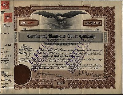 Continental Bank & Trust Stock Certificate Fort Worth Texas