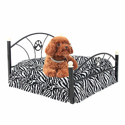Pet Dog Bed Metal Frame Puppy Dog Cat Cushion Kennel Included Mattress 2 Colors